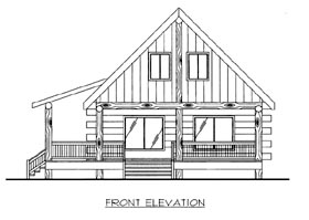 House Plan 87144 | Country, Log Style House Plan with 1236 Sq Ft, 1 Bed, 1 Bath Elevation