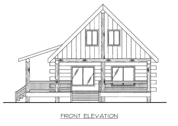 Country Log House Plan 87144 Elevation