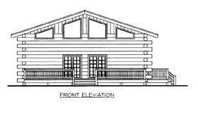 Log House Plan 87146 Elevation
