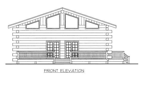 Log House Plan 87146 Elevation