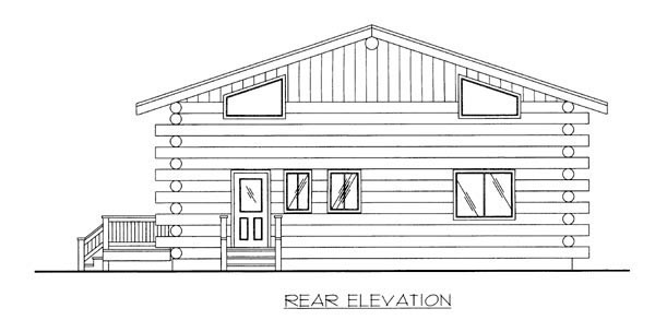 Log House Plan 87146 Rear Elevation