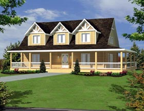 Country Log House Plan 87149 Elevation