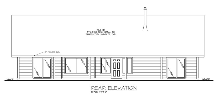 Ranch House Plan 87154 Rear Elevation