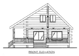 House Plan 87156 | Log Style Plan with 1364 Sq Ft, 1 Bathrooms Elevation