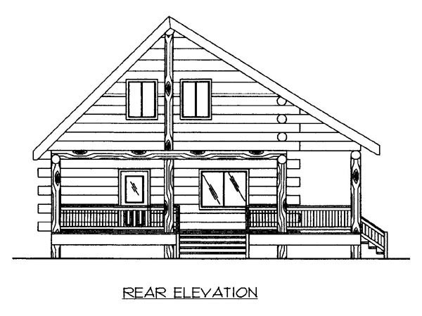 House Plan 87156 | Log Style Plan with 1364 Sq Ft, 1 Bathrooms Rear Elevation