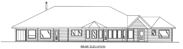 Traditional , Contemporary House Plan 87157 with 3 Beds, 3 Baths, 3 Car Garage Rear Elevation