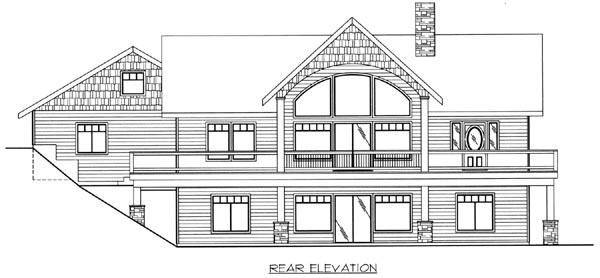 Craftsman Ranch House Plan 87160 Rear Elevation
