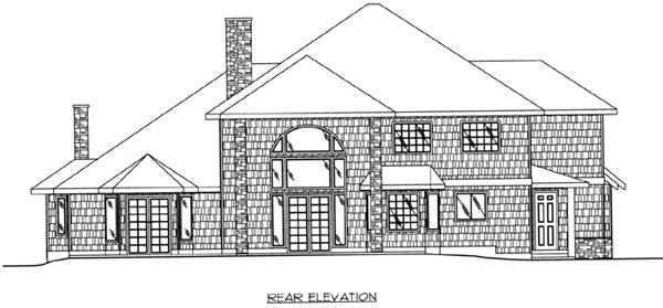 Traditional Rear Elevation of Plan 87161