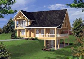 Log House Plan 87162 with 3 Beds, 3 Baths Elevation