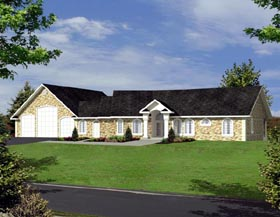Mediterranean , Ranch House Plan 87163 with 3 Beds, 5 Baths, 3.5 Car Garage Elevation