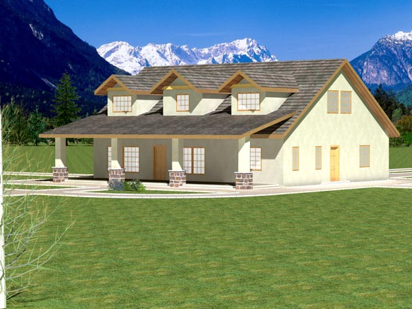 Ranch Rear Elevation of Plan 87166
