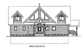 Log House Plan 87172 Elevation