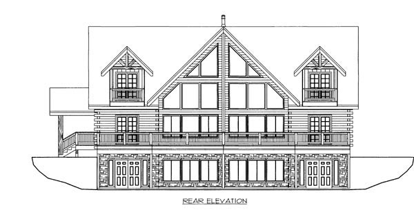 Log House Plan 87172 Rear Elevation