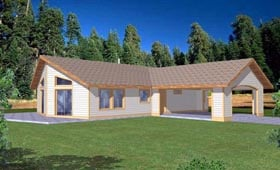Contemporary Ranch House Plan 87174 Elevation