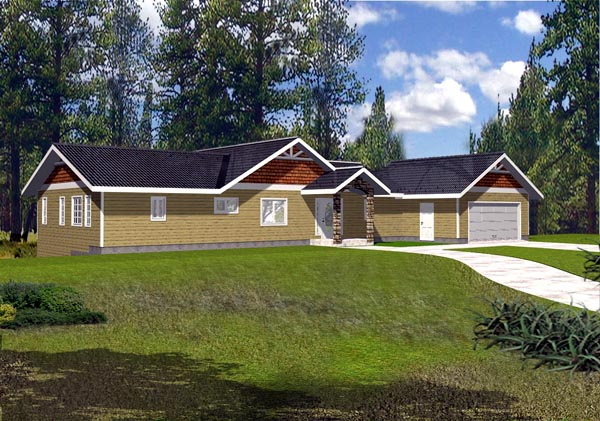 One-Story, Ranch House Plan 87178 with 5 Beds, 4 Baths, 2 Car Garage Elevation