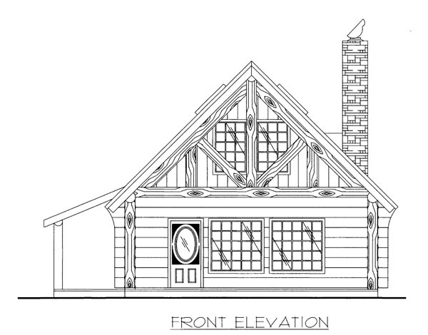 Log , Elevation of Plan 87187