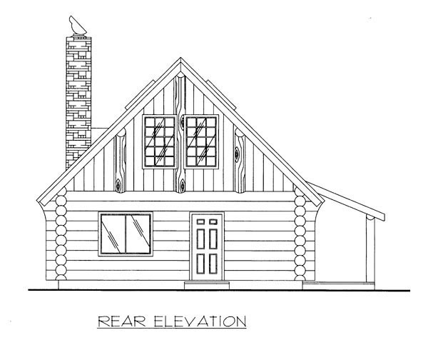 Log , Rear Elevation of Plan 87187