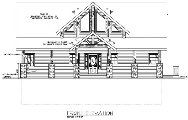 Contemporary Rear Elevation of Plan 87197