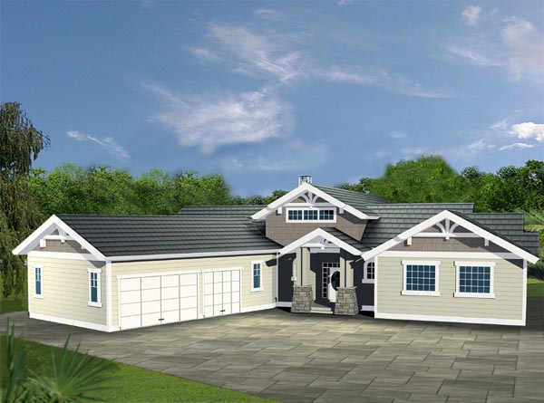 Contemporary Traditional House Plan 87199 Elevation