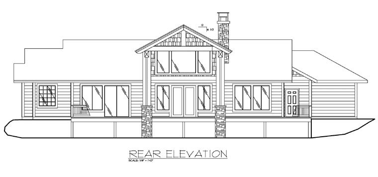 Contemporary Traditional Rear Elevation of Plan 87199