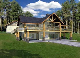 House Plan 87208   Contemporary Log Style Plan with 3861 Sq Ft, 3 Bedrooms, 3 Bathrooms, 3 Car Garage Elevation