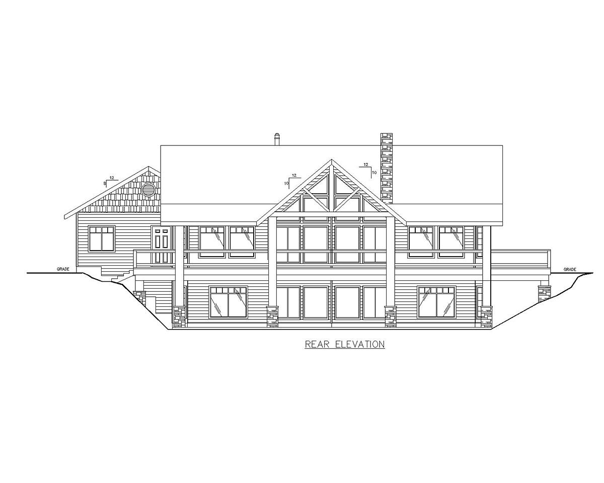 Contemporary Log House Plan 87208 Rear Elevation