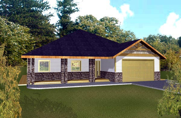 Traditional House Plan 87209 with 3 Beds, 3 Baths, 2 Car Garage Elevation