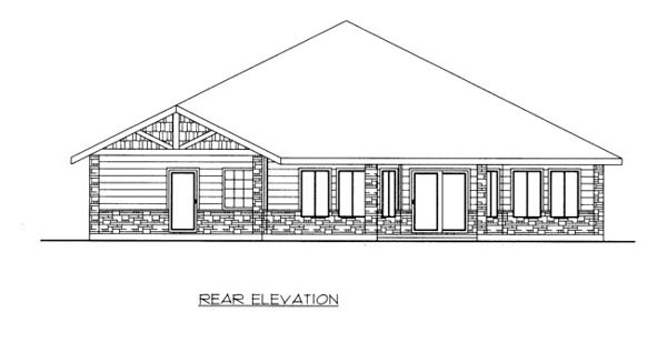 Traditional House Plan 87209 with 3 Beds, 3 Baths, 2 Car Garage Rear Elevation