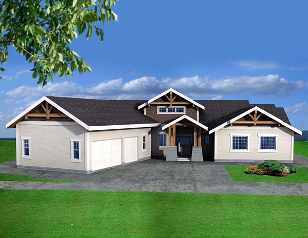 House Plan 87210 | Traditional Style Plan with 2180 Sq Ft, 3 Bedrooms, 3 Bathrooms, 3 Car Garage Elevation
