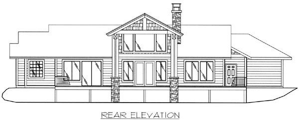 House Plan 87210 | Traditional Style Plan with 2180 Sq Ft, 3 Bedrooms, 3 Bathrooms, 3 Car Garage Rear Elevation