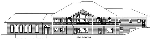 Traditional Rear Elevation of Plan 87211