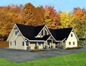 Contemporary House Plan 87216 with 3 Beds, 3 Baths, 3 Car Garage Elevation
