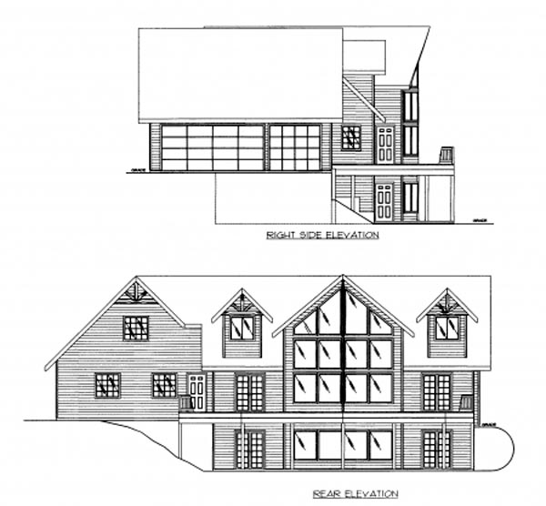 Contemporary House Plan 87216 with 3 Beds, 3 Baths, 3 Car Garage Rear Elevation
