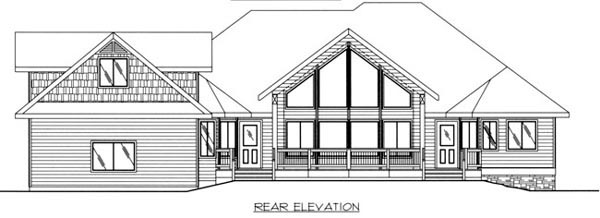 Ranch House Plan 87219 with 6 Beds, 4 Baths, 3 Car Garage Rear Elevation