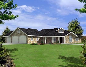 House Plan 87225 | Ranch Style Plan with 2824 Sq Ft, 3 Bedrooms, 3 Bathrooms, 3 Car Garage Elevation
