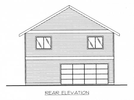 House Plan 87228 | Contemporary Style Plan with 1320 Sq Ft, 2 Bedrooms, 2 Bathrooms, 2 Car Garage Rear Elevation