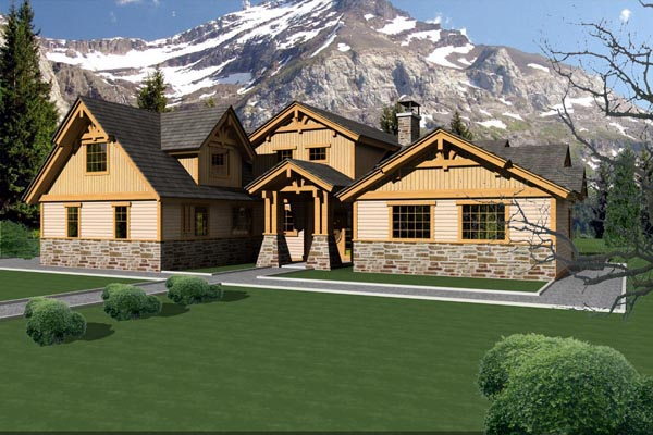 Traditional House Plan 87233 with 3 Beds, 3 Baths, 2 Car Garage Elevation