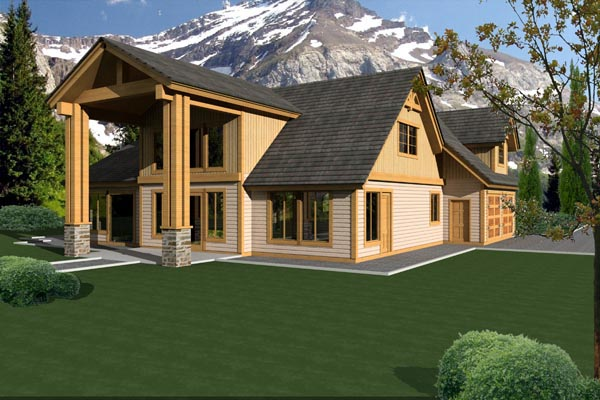 Traditional House Plan 87233 with 3 Beds, 3 Baths, 2 Car Garage Rear Elevation