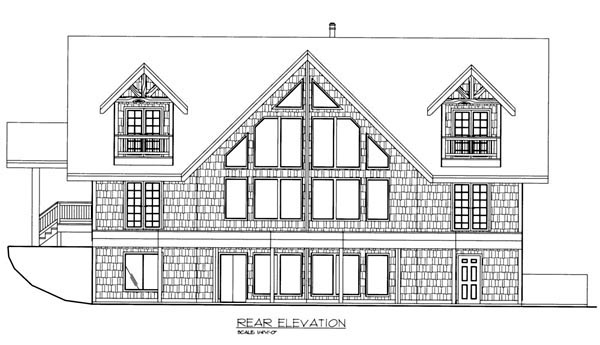 Cabin House Plan 87236 Rear Elevation
