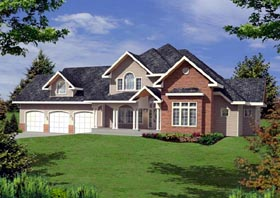 Traditional , European House Plan 87238 with 6 Beds, 4 Baths, 3 Car Garage Elevation