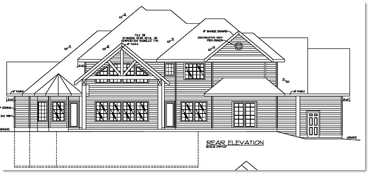 Traditional , European House Plan 87238 with 6 Beds, 4 Baths, 3 Car Garage Rear Elevation