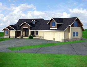 Ranch House Plan 87239 with 3 Beds, 3 Baths, 3 Car Garage Elevation