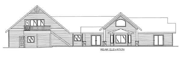 Ranch House Plan 87243 Rear Elevation