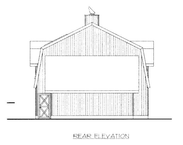 Country House Plan 87255 with 3 Beds, 2 Baths Rear Elevation