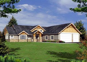 House Plan 87262 | Ranch Style Plan with 3928 Sq Ft, 3 Bedrooms, 4 Bathrooms, 2 Car Garage Elevation