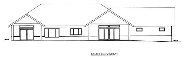 Ranch House Plan 87264 Rear Elevation