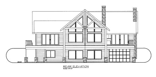Contemporary Ranch House Plan 87265 Rear Elevation