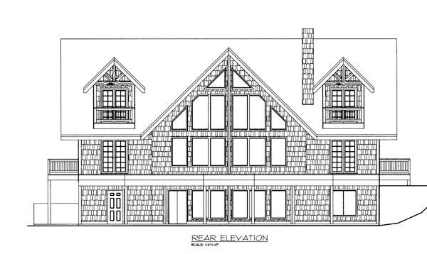 Cabin House Plan 87271 Rear Elevation
