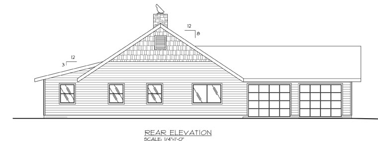Ranch House Plan 87272 Rear Elevation
