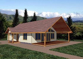 Ranch House Plan 87278 with 2 Beds, 1 Baths Elevation
